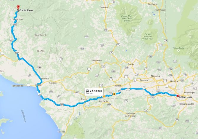 Map San Jose to Monteverde - Copy